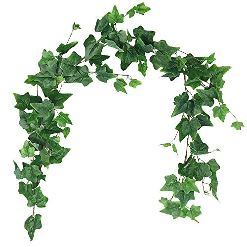 (Aisamco Artificial Hanging Ivy Leaves Vines Twigs Fake Silk Ivy Plants Leaves Garland String 5.7 Feet in Green for Indoor Outdoor Wedding Decor Greenery Wreath)