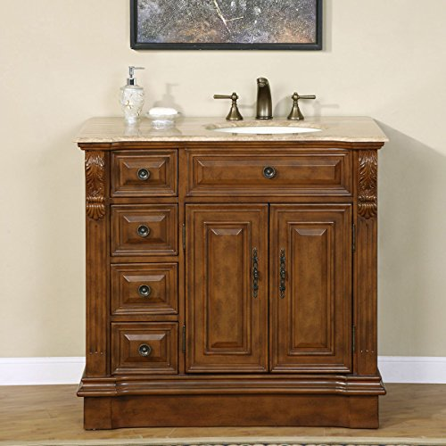 Silkroad Exclusive Travertine Top Off Center Single Right Side Sink Bathroom Vanity with Cabinet, 38-Inch
