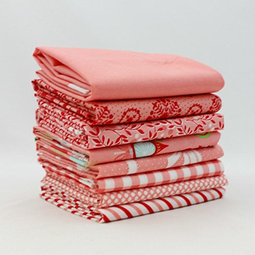 Vintage Holiday - Pink - Fat Quarter Bundle (8 pcs) - Bonnie and Camille - Moda 18 x 21 inches fabric cuts DIY quilt fabric (Fabric Holidays Quilt Cotton)