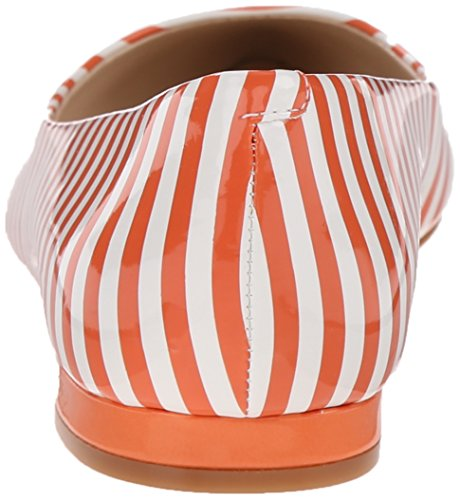 Nine West Onlee sintético del dedo del pie puntiagudo plana White/Orange Synthetic