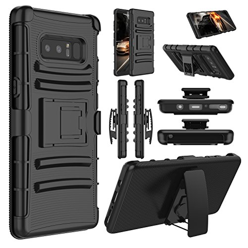 Galaxy Note 8 Case, Elegant Choise Hybrid Heavy Duty Dual Layer Shockproof [Swivel Belt Clip] Holster with [Kickstand] Combo Rugged Defender Case Cover for Samsung Galaxy Note 8 (Black)