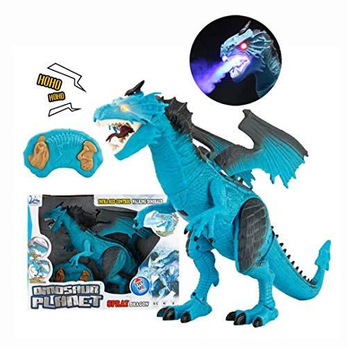 qiaoniuniu Remote Control Dinosaur, Electronic Pet Dragon Toy Kids Boys Girls Large Size fire Breathing Dragon Roaring Spraying Light Up Eyes Birthday Blue - Dragon Fire Blue Breathing