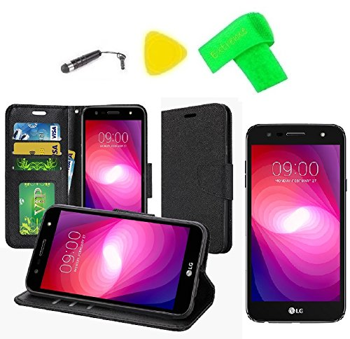 Wallet Pouch Cover Phone Case + Screen Protector + Extreme Band + Stylus Pen + Pry Tool For LG M322 X Series X Charge Xfinity Mobile / K10 Power M320TV ()