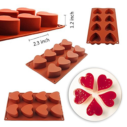 DiDaDi Food Grade Silicone Non Stick Cake Bread Mold for Thanksgiving Chocolate Jelly Candy Baking Bakeware Mold, Six Shapes Available(8-Cavity)-Heart