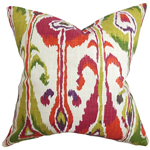 Ikat Euro Sham - The Pillow Collection EURO-ROB-IKATBANDS-FUCHSIA-C100 Gudrun Ikat Bedding Sham, Pink, European/26