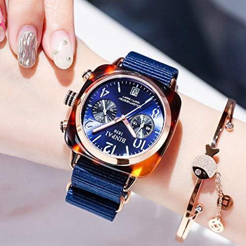 工業用女性の腕時計グリーントーンケース、ギア中空ダイヤル、キャンバスストラップ付きの女性の腕時計、防水アナログガール腕時計 (色 : 青)