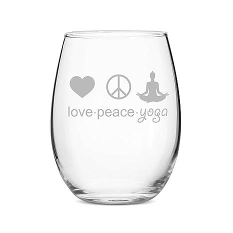 Amazon.com | Love Peace Yoga Stemless 21 oz Wine Glass - Set ...