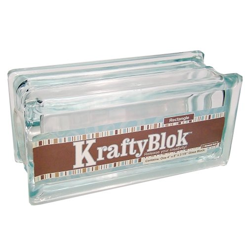Glass Block (KraftyBlok 113, Glass Crafting Block 4-Inch by 8-Inch Rectangle with Round Opening and Plastic Cap, Clear)
