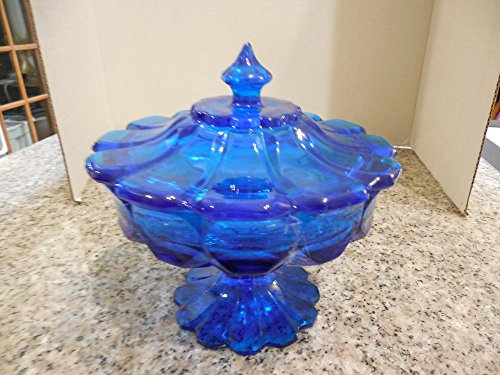 Rare Large Elegant Colonial Blue glass Footed Candy Bowl Lid