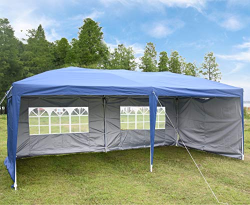 CharaHome 10×20 Canopy Tent Pop Up Portable Shade Instant Folding Heavy Duty Outdoor Gazebo Blue with 4 Removable Sidewalls for Outdoor Party Wedding Commercial Activity Pavilion BBQ Beach Car Shelter