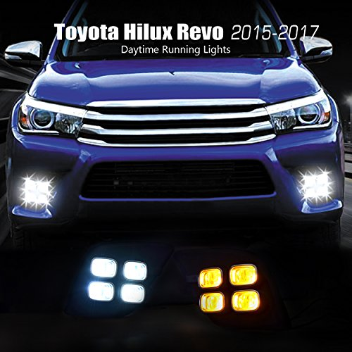 For Toyota Hilux Revo 2015-2017 4-Eyes OEM Replacement Foglight Cover LED DRL Daytime Running Lights With Yellow Turn Signal Lights Driving Fog Lamps - Revo Lenses What Are