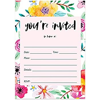 25 Fill In Invitations With Envelopes Pack Of Tropical Floral Blank Bridal Shower