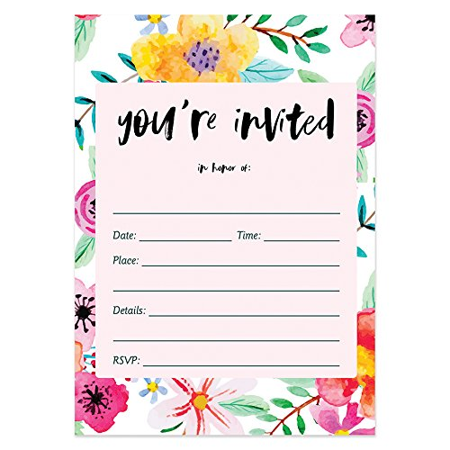 25 Fill In Invitations with Envelopes (Pack of 25) Tropical Floral Blank Bridal Shower Invites, Baby Shower, Rehearsal Dinner, Birthday Party Invites Excellent Value by Digibuddha (Tropical Theme Invitations)