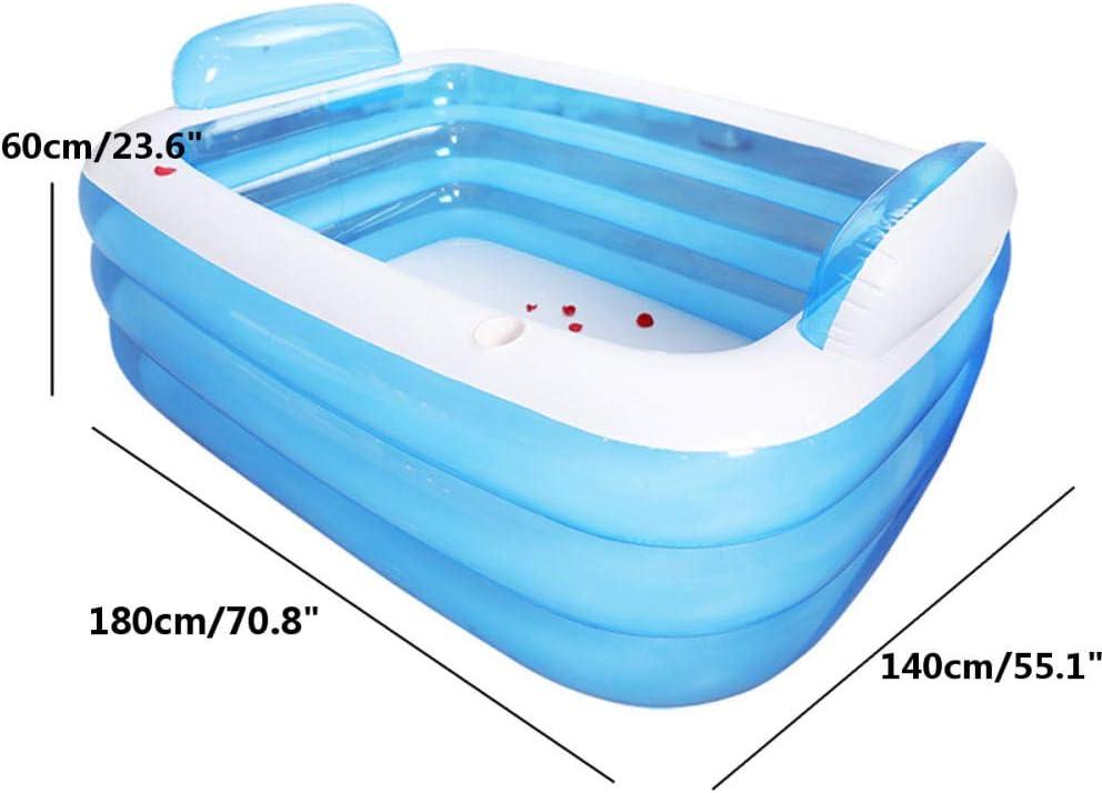 Treslin Bañera Plegable Bañera Inflable para Adultos Mant Piscina de natación Bañera con Bomba de Aire Bañera de hidromasaje @ 180x140x60cm