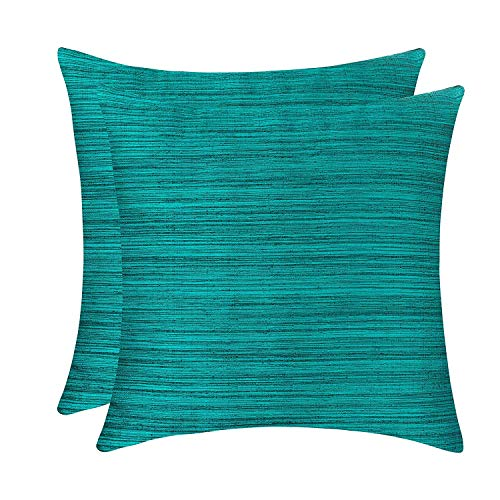 (The White Petals Teal Green Throw Pillow Covers for Sofa, Couch & Bed (18x18 inch, Pack of 2))