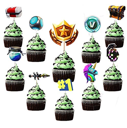 30Pcs | Cupcake Toppers and Cake Topper | Kids Party Supplies | Video Game Birthday Favors | Boys Party Sets | Battle Royal Decorating |