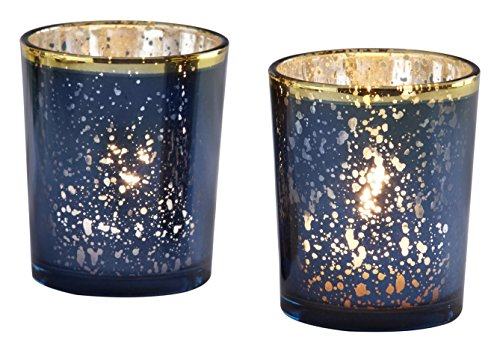 Kate Aspen Mercury Glass Tea Light Holder, Wedding/Party Decorations (Set of 4), Navy/Gold for $<!--$14.75-->