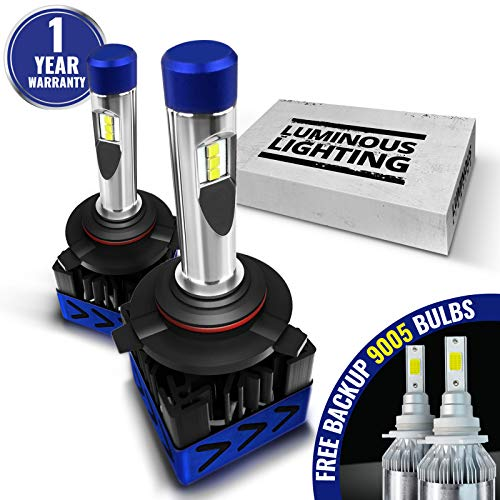 (AccCITY MAX CSP LED Headlight Bulbs All-in-One Conversion Kit FREE BACKUP BULBS - 9005 HB3-9,000Lm 6000K Cool White CREE)
