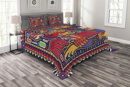 (Lunarable Mexican Bedspread Set King Size, Aztec Culture Pattern Ethnic Colorful Mythology Artwork Ancient Snake, Decorative Quilted 3 Piece Coverlet Set with 2 Pillow Shams, Mustard Orange )