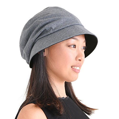 CHARM Womens Organic Cotton Sun Hat - SPF50 Japanese Design Soft UV Protection Anti-Aging Dark Gray