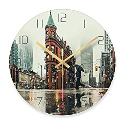 YXZQ Paris Tower Printed Glass Wall Clock, Creative Home Living Room Cafe Wall Decoration, 29.5x29.5cm,C