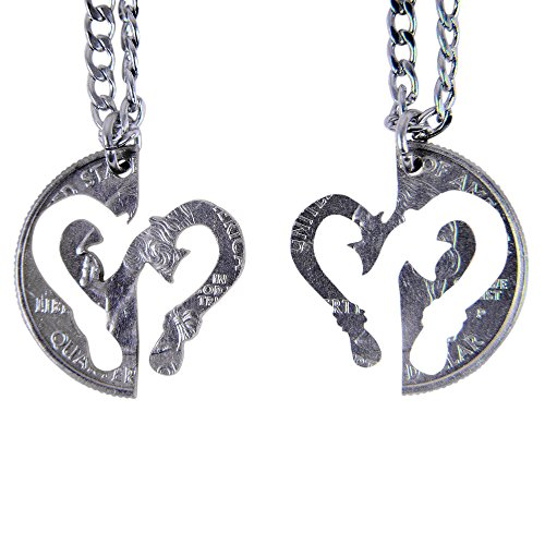 Fish Cut Coin - Marycrafts Set Hand Cut Coin Fish Hook Heart Couples Interlocking Necklace Jewelry Relationship BFF 22