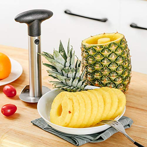 Stainless Steel Pineapple Corer Cutter Slicer Peeler - Professional Slices perfect rings instantly & smoothly - Comes with a Soft Silicone & Good Grips Handle Mothers Day Gifts Pelador de pina THICKEN