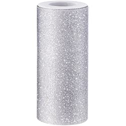 Outus Sparkling Tulle Ribbon Roll Glitter Tulle Spool, 6 Inches by 25 Yards, Silver
