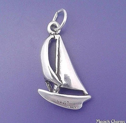Sterling Silver 3-D SAILBOAT Catamaran Charm Pendant - sc383 Jewelry Making Supply Pendant Bracelet DIY Crafting by Wholesale Charms