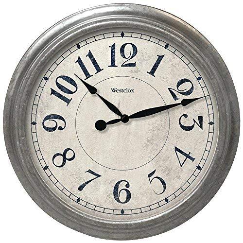 Westclox 32931 Round Galvanized Finish Wall Clock, Gray, 15.5