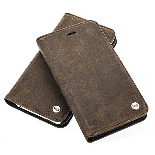 QIOTTI >          Apple iPhone 7 (4.7&quot;)          < incl. PANZERGLAS H9 HD+ Geschenbox Booklet Wallet Case Hülle Premium Tasche aus echtem Wildleder mit Kartenfächer und Standfunktion in RETRO BRAUN. Edel verpackt incl.