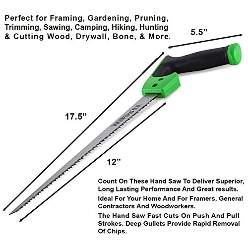 "WilFiks Razor Sharp 12"" Compass Saw, Pro Hand Saw, Keyhole Saw, Perfect For Sawing, Trimming, Gardening, Pruning & Cutting Wood, Drywall, Plastic Pipes & More, Comfortable Ergonomic Non-Slip Handle by WilFiks (Image #2)"
