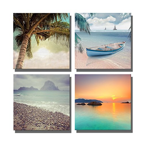 (Yin Art Seascape Seaside Giclee Canvas Prints Sunset Boat Canvas Wall Art Home Decorations)