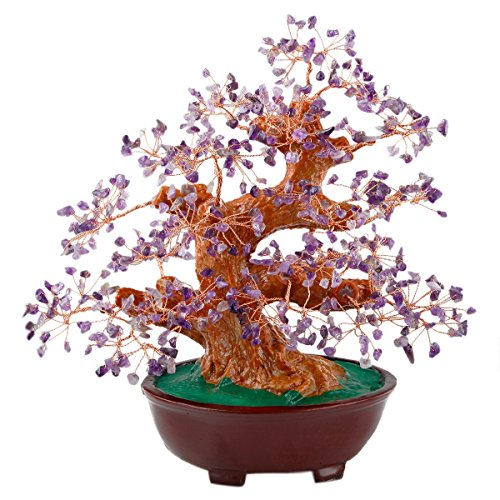SUNYIK Amethyst Money Tree Bonsai Tumbled Crystal Lucky Fengshui Healing Decoration 8 Inch (Big Money Tree Plant)