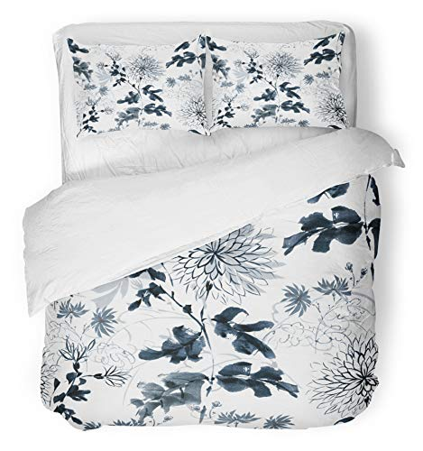 Emvency 3 Piece Duvet Cover Set Breathable Brushed Microfiber Fabric Floral Excellent Chrysanthemum Drawn in The Traditional Oriental Free Brush Ink Bedding with 2 Pillow Covers Full/Queen Size