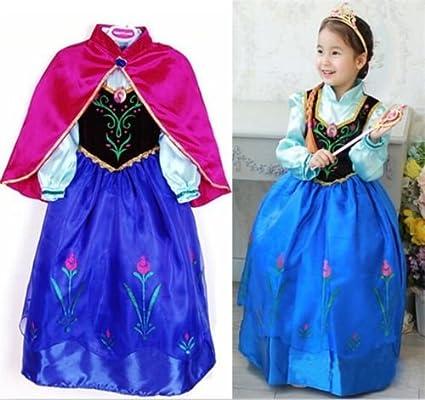 Disfraz Elsa Anna Frozen con Varita Y Corona (Talla 100 (2-3 años))