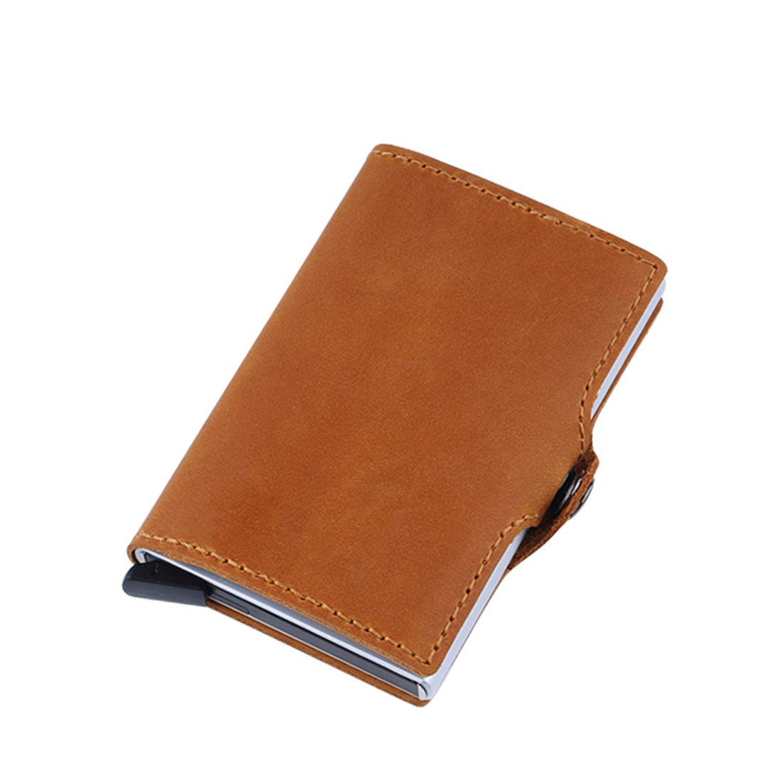SaoLangtame Leather Metal Small Men Wallet Anti RFID Blocking Aluminium Credit Card Holder Purse Male Slim Mini Pocket Wallet