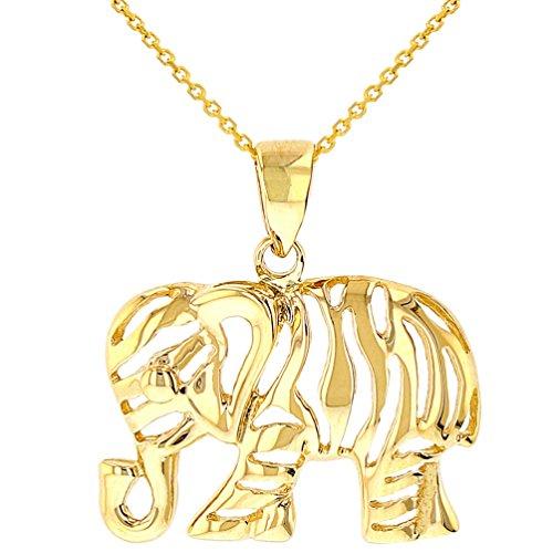 Polished 14K Yellow Gold Elegant Elephant Charm Animal Pendant Necklace, 16