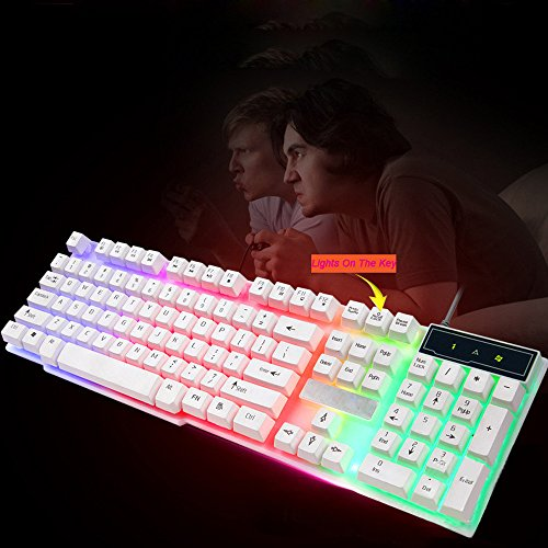 Wired Gaming Keyboard Mouse Combo,Colorful Crack LED Illuminated Backlit USB Wired Rainbow Mice Gaming Keyboard+Mouse (1 PC, White) (Best Claw Grip Mouse 2019)