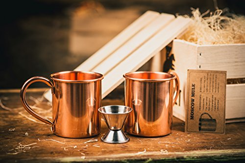 Moscow Mule Cocktail Kit Gift Set (Copper Mug Set 100% Pure Solid Copper) - Moscow Mule Bar Kit - Comes in A Wooden Gift Crate - Great Gift For Men - Cocktail Kit For Men by Broquet (Image #3)
