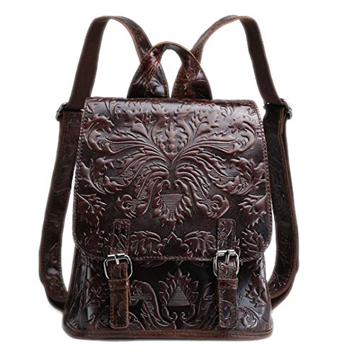 - Women's Oil Wax Genuine Leather First Layer Cowhide Embossed Tote Vintage Back Pack Student Travel Backpacks