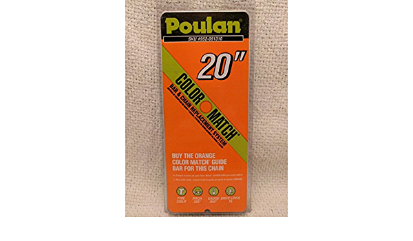 """NEW OEM Poulan Chainsaw Chain 20/"""" 952-051310 Color Match Orange"""