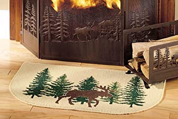 Osd Wildlife Bear Moose Hearth Rug Fire Resistant Use At Cabin Flame Retardant Hunting Themed Half Moon Mat Protects Floor Around Fireplace In 2020 Hearth Rug Rugs Hearth