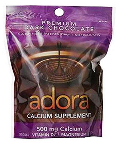 Adora Calcium Supplement Disk, Organic Dark Chocolate, 30 Count - 500 mg (Chocolate Calcium Chews)