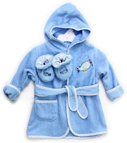 Spasilk 100% Cotton Hooded Terry Bathrobe with Booties, Blue Plane, 0-9 Months by Spasilk