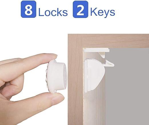 Aycorn Niño /& bebé seguridad prueba magnético Armario Cerraduras 10 cerraduras y 2 llaves,...