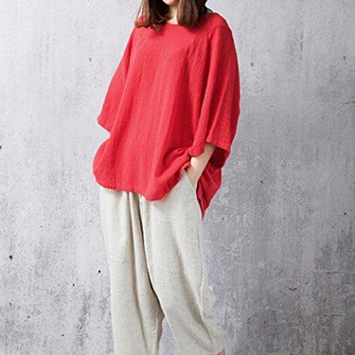 YUYOUG en Unie Tops Chemisier Lin Sleeve 3 Classique 4 Loose Red Femmes Couleur Coton Chemisier Vintage Classique Pull rp0OZYrS