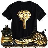 Custom T Shirt Matching AIR Foamposite Pro Gold FOAM-1-4-8-BLACK-L