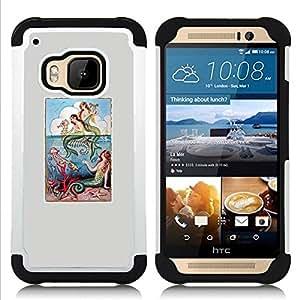 """Pulsar ( Naturaleza Gris Mar Místico Poster"""" ) HTC One M9 /M9s / One Hima híbrida Heavy Duty Impact pesado deber de protección a los choques caso Carcasa de parachoques [Ne"""