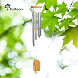 Garden Wind Chime Outdoor, Pathonor Large Alloy Grace Musical Wind Chimes Bells Crafts Wooden Pendulum Loop Deliver Gentle, Relaxing Tones for Outdoor Garden and Home Decor Gift